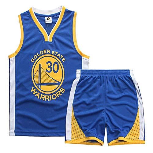 ASSD Juego de camisetas de baloncesto para niño y niña, de la NBA Warriors 30# Curry de baloncesto uniforme de verano (color: azul, talla: XXS)