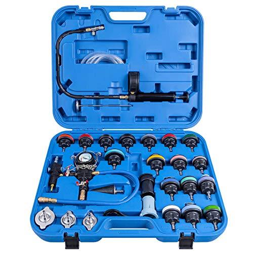 Goplus 28-Piece Universal Radiator Pressure Tester, Vacuum Type Cooling System Tool Kit w/Carrying Case (Blue Case)