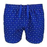 Costume da Bagno Uomo Blu Fantasia Ancore Slim Fit Pantaloncino Corto Shorts Mare (M, Blu Chiaro)