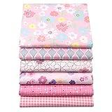 6 piezas de cuartos de grasa de color rosa que acolchan los paquetes de tela, 46x56cm Tela de costura de algodón superior para acolchar, 18'x 22'