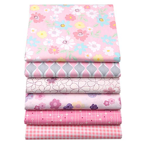 6 piezas de cuartos de grasa de color rosa que acolchan los paquetes de tela, 46x56cm Tela de costura de algodón superior para acolchar, 18