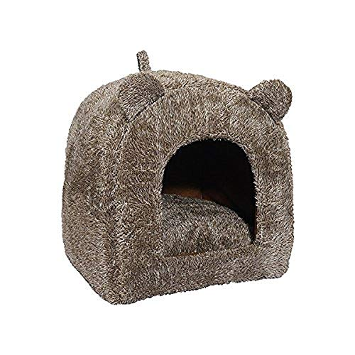 Rosewood Soft Fabric Teddy Bear Cat Bed/Cave, Brown