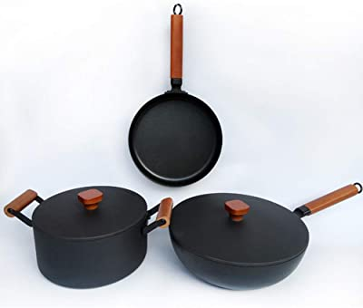 Wok Nonstick Cookware Household Kitchen Cast Iron Pot with Lid Dishwasher Safe PFOA Free Cookware Set, 3-Piece, Black