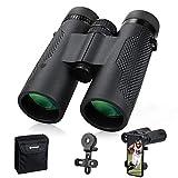 Fernglas für Erwachsene, 10 x 42, FMC-Objektiv, HD-Fernglas für Vogelbeobachtung, Reisen, Jagd, kompaktes Fernglas mit Handy-Adapter, Umhängeband und Tragetasche