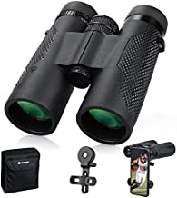 Binoculars for Adults 10X42, FMC Lens HD Binoculars for Bird Watching, Travel Hunting,Compact Binoculars with Phone Adapter, Neck Strap and Carrying Bag