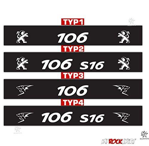 myrockshirt Motorsport Aufkleber Peugeot 106 S16 Sport 4 Typen zur Auswahl`+Blendstreifen 130cm +Logo-Aufkleber, Keil,Sonnenschutz R