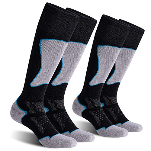 CelerSport 2 Pack Women's Ski Socks for Skiing, Snowboarding, Cold Weather, Winter Performance Socks, Black+Blue, Small
