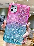 niufoey iPhone 11 Case Glitter Sparkle Quicksand Liquid Floating Waterfall, Gradient Bling Diamond Liquid TPU Bumper Cushion Reinforced Corners Cute Women Girls for Apple iPhone 11 2019 (Pink Green)