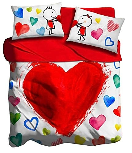 lenzuola you and me Lenzuola 2 piazze in cotone matrimoniale digitale 3D I love sleeping Cuore Amore you and me