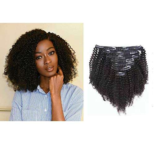 African American Afro Kinky Curly Clip ins Hair Extensions Double Weft Top Grade Brazilian Virgin Black Hair, 3C and 4A Big Thick, 120 Gram, 18 Inch