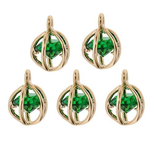 EXCEART 5pcs Birthstone Charms Crystal Pendants Charms Dainty Drop Dangle Beads for DIY Jewelry Making Necklace Bracelet Ankle Earring Hair Ornaments
