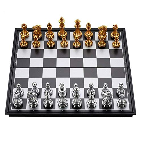 MU Chess Folding Magnetic Travel Chess Set for Kids Adults Children Student Training Checkers Chess Board Game Gold&Amp;Silver Chess Pieces Child Adult,a,25 * 25Cm