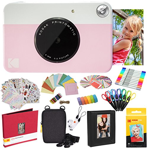 KODAK Printomatic Cámara instantánea (Rosado) Paquete Todo Incluido con Papel fotográfico Zink (20 Hojas) y Mucho más.