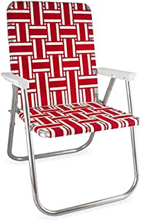 Lawn Chair USA Webbing Chair (Deluxe, Red and White with White Arms)