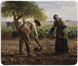 dealzEpic - Art Mousepad - Natural Rubber Mouse Pad with Famous Fine Art Painting of Potato Planters by Jean-François Millet - Stitched Edges - 9.5x7.9 inches