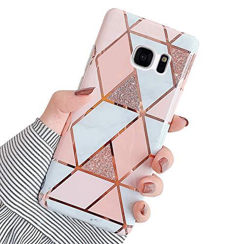 Hpory Kompatibel mit Galaxy S7 Edge Hülle, Handyhülle Samsung Galaxy S7 Edge Marmor Muster TPU Silikon Transparent Bumper Schale Back Case Cover Tasche Etui Schutzhülle für Mädchen Damen - Pink Weiß
