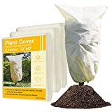 """3 Pack Plant Freeze Protection Covers(32×47""""Upgraded Thickness 2.1oz/m²) Garden Frost Cloth Reusable Plant Shrub Frost Jacket Covers for Winter,Frost Covers for Plants with Drawstring"""