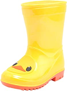 D.S.mor Toddler Rain Boots, Yellow Cute Cartoon Duck Rubber Rain Boots for Kids, Anti-Slip Children's Water Shoes