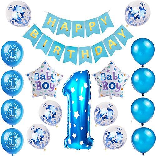 Kindergeburtstag Deko Jungen 1 Jahr ballon, 1. Geburtstag Dekorationen für Junge,Deko 1 Geburtstag ballon, erst Geburtstag Deko Jungen Happy Birthday Banner Luftballons Blau Konfetti Helium Set