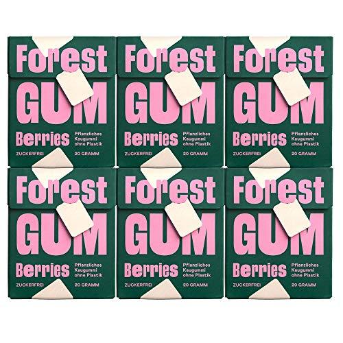 FOREST GUM Berries | Plastikfreies Kaugummi mit Beeren-Geschmack | Pflanzliche Zutaten | ohne Zucker | Vegan | 6 x 20 Gramm