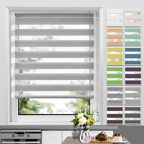 Allesin Doppelrollo Duo Rollo Klemmfix ohne Bohren, Rollo für Fenster und Tür, Seitenzugrollo Easyfix, lichtdurchlässig und verdunkelnd, sichtschutz und Sonnenschutz, 90 x 130 cm Grau