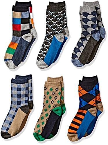 Jefferies Socks Boys' Little Fun Colorful Dress Crew Socks 6 Pair Pack, multi, Medium