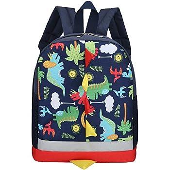Kids Toddler Backpack Boys with Strap Dinosaur Blue Kindergarten Leash Bookbag  dark blue