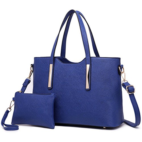 Miss Lulu Fashion Ladies Pu Saffiano Leather Top Handle Bags 2 Pieces Tote Shoulder Handbags for Women (Navy)