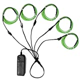 5in1 15Ft (5Pack 3Ft) Neon Strip Light Wire Kit, Ourbest EL Wire Neon Lights Kit El Wire w/Battery Pack for Cosplay Dress Halloween Christmas Party Decoration(Green)