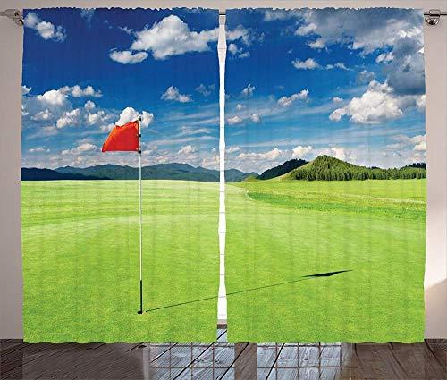 Verdunkelungsvorhänge, Wärmeisolierung/Wärme im Winter, können Innenmöbel schützen & ultraviolette Strahlung reduzieren Sportvorhänge Golfplatz Wolke mit Flaggen Golflandschaft