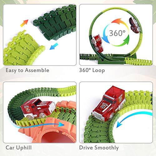 JoyGeek Dinosaur Toys Race Car Track Train Set for Boys Kids, 191 PCS Educational Flexible Dinos Playset Jurassic Dinosaur World Game Birthday Party Gifts for Girls Children