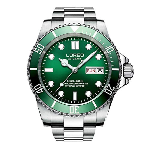 SHOUTAOB Relojes mecánicos para hombre, serie de buceo, 200 m, acero inoxidable, impermeable, marca de lujo, para hombre, Relogio Masculino RZTZDM (color: plata verde)