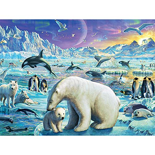 SINACO DIY 5D Diamond Painting by Number Kits,Full Round Drill,Diamond Embroidery Paintings Arts Craft voor thuiswanddecoratie Polar Bears en Dolphins 15,7 x 11,8 in 1 verpakking door