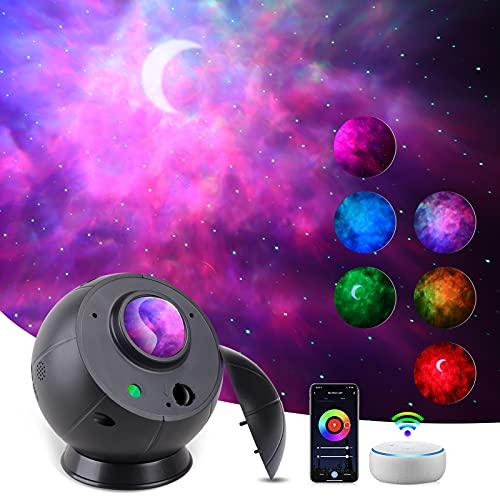 Klighten Proyector Estrellas LED Smart, Proyector Luz Estelar Luna Adulto Niño, Funciona con Alexa/Google Assistant, Lámpara Proyector Galaxia con Temporizador/ Control Voz/ Atenuación RGB, Negro