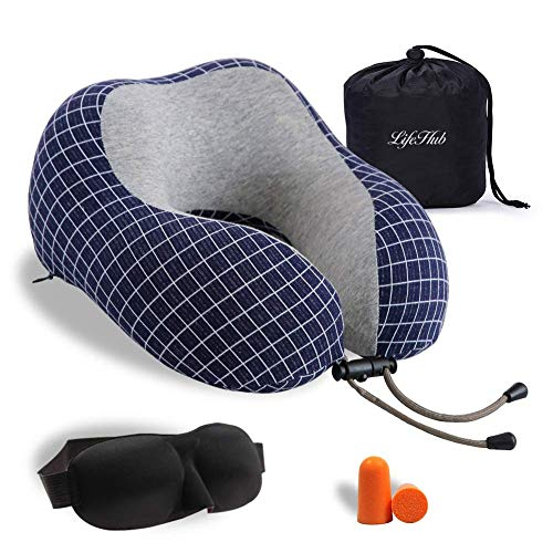 LIFEHUB Memory Foam Travel Neck Pillow,Ideal for Airplane Travel Accessories Sleep,Comfortably Supports The Head,Machine Washable (Blue)