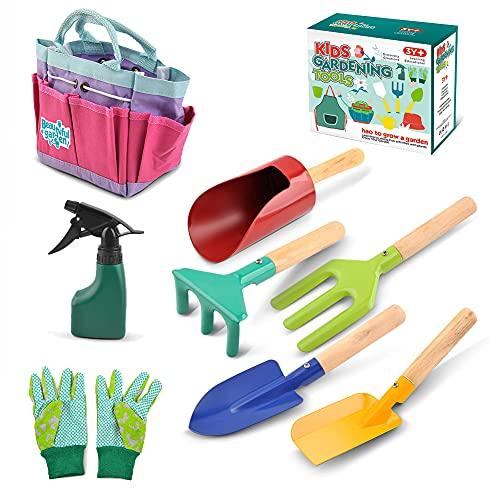 FXQIN Juguetes Equipo de jardín Herramientas de jardinería para niños Incluye Bolsa de Asas Resistente, regadera, Guantes, Palas, rastrillo, Juego de Gardening Kit Garden Toys Kids