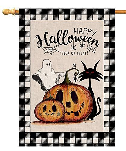 Halloween Pumpkin Cat Ghost House Flag Vertical Double Sided Black Buffalo Check Burlap Yard Outdoor Decor 28 x 40 Inch (138364)