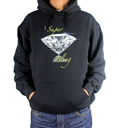Super Bling Hommes & Femmes Capuche, Hip Hop Urban Rétro Designer Bling Diamant à Capuche - Noir, Large 40-42 Chest