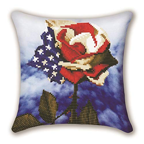 DIY Handwork Store 5D Diamond Painting Cushion Cover Throw Pillow Case Partial Round Drills for Adults DIY Mosaic Cross Stitch American Flag Rose Pattern Handmade Embroidery(17.72''x 17.72'')