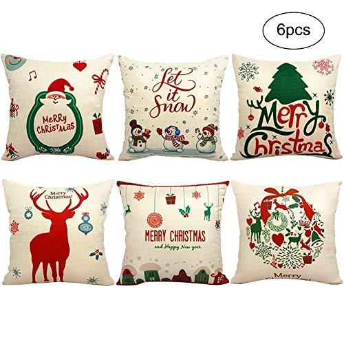ATpart 6 Pcs Natale Federa Copri Cuscino Decorazioni Di Natale Divano Fortezza Notte Modello Cuscino Federa Cuscino per Divano Gettare Pillow Case 45x45 cm