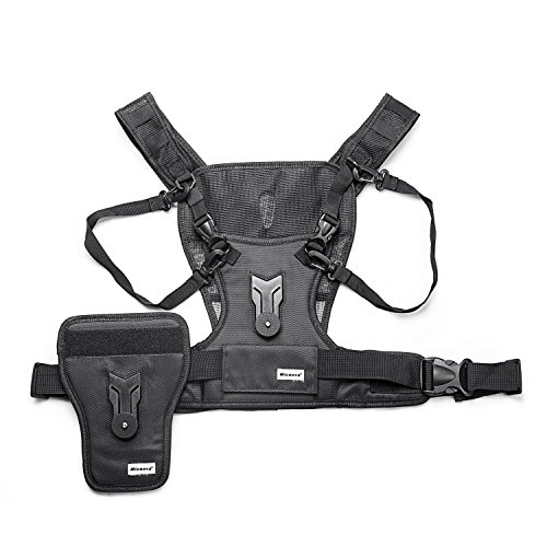 Micnova MQ-MSP01 Multi Camera Carrying Chest Harness, Professional desiged for Photo DSLR Cameras Support Straps