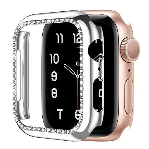 Upeak Kompatibel mit Apple Watch Series SE/6/5/4 40mm Hülle Rahmen mit Diamant, Bling PC-Schutzrahmen mit Glänzender Oberfläche für Frauen Mädchen Smartwatch Dekoration, Silber