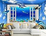 XHXI Fondo de pantalla 3D de acuario Space Dolphins Intressed 3D papel Pintado de pared tapiz Decoración dormitorio Fotomural-430cm×300cm
