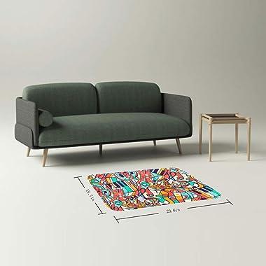 EGGDIOQ Doormats Notes Musical Custom Print Bathroom Mat Waterproof Fabric Kitchen Entrance Rug, 23.6 x 15.7in