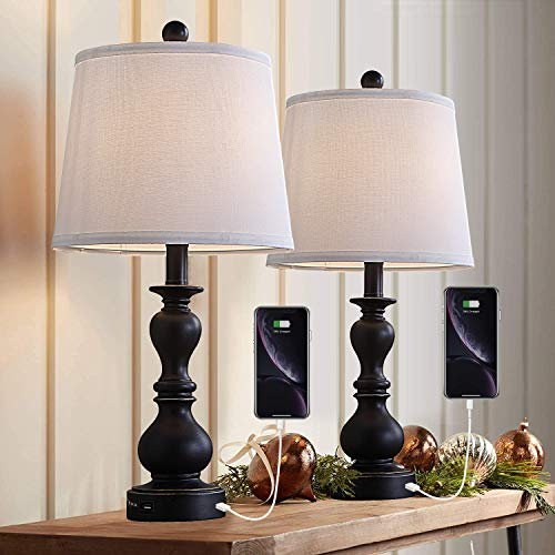 Resin Table Lamp Sets of 2 for Bedroom Living Room Plug in Bedside Nightstand Light Lamps with 2 USB Ports White Fabric Shade, 2-Pack(Black)