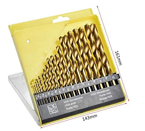 Allpdesky 19PC Titanium HSS Drill Bit Set with Storage Case from 1mm to 10mm