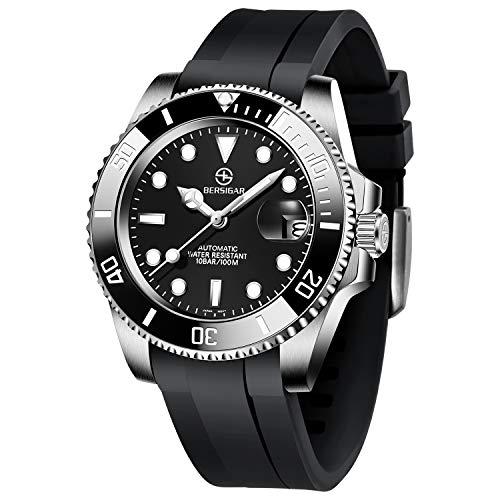 BERSIGAR Mechanische automatische Taucheruhren Herren Klassische Uhr Analoge automatische Herrenmode wasserdichte lässige Schwarze Uhr mit Silikonarmband