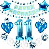 Juego de decoración para cumpleaños número 11,Globos de colores feliz cumpleaños,Globos de Confeti,Globos de latex,Globos para Fiestas de Aniversario,Cumpleaños Globos (11)