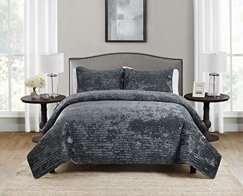 Tahari Home | Bronn Bedding Collection | Luxury Premium Ultra Soft Quilt Coverlet, Comfortable 3 Piece Set, Designer Modern Stylish Crushed Velvet, Full/Queen, Grey