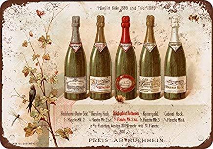 Odeletqweenry Metalen bord, Blik bord, 1890 Duitse Riesling Wijn Vintage Look Reproductie Metalen Blik Teken 12X18 Inches